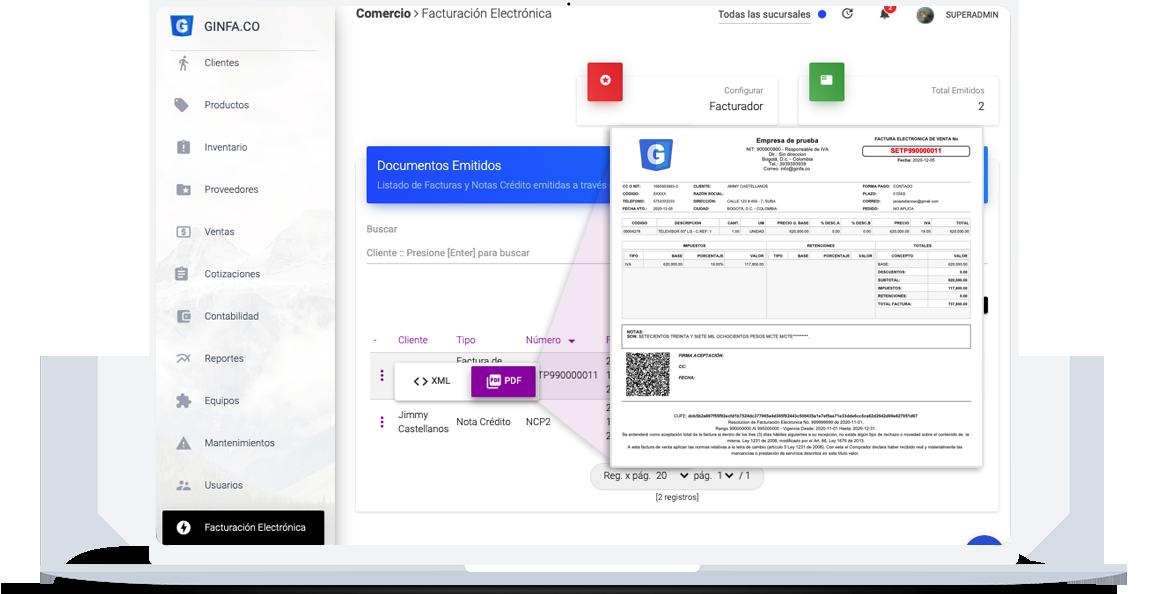 Ginfa.Co - API de integración para facturación electrónica